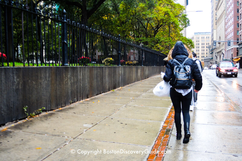 Following the Freedom Trail's red line in the rain