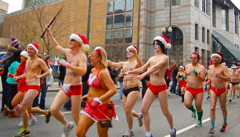 Santa Speedo Run in Back Bay Boston