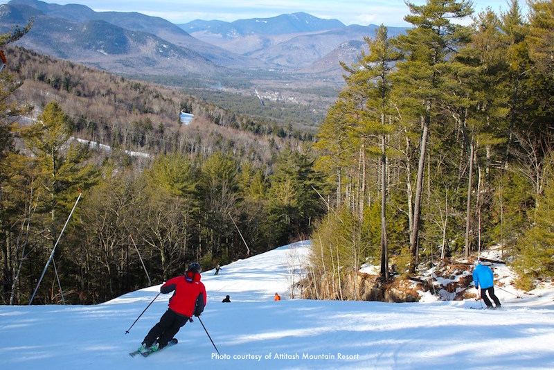 Skiing on Attitash Mountain with spectacular scenery