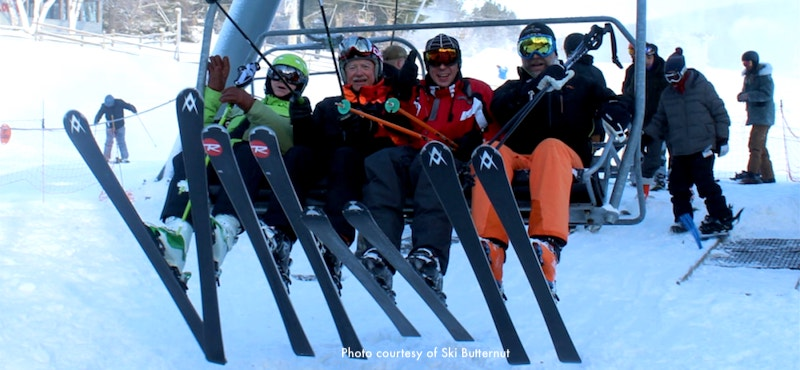 Skiers at Ski Butternut in Great Barrington, MA