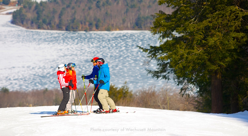 Skiers on Wachusett Mountain, west of Boston