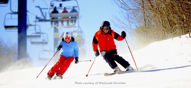 Skiers at Wachusett Mountain Ski Area an hour from Boston