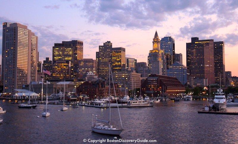 Downtown skyline seen from an Odyssey dinner cruise around Boston Harbor