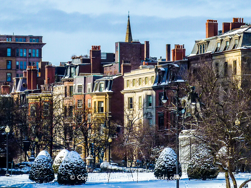 Mansions along the first block of Commonwealth Avenue, seen from Boston's Public Garden