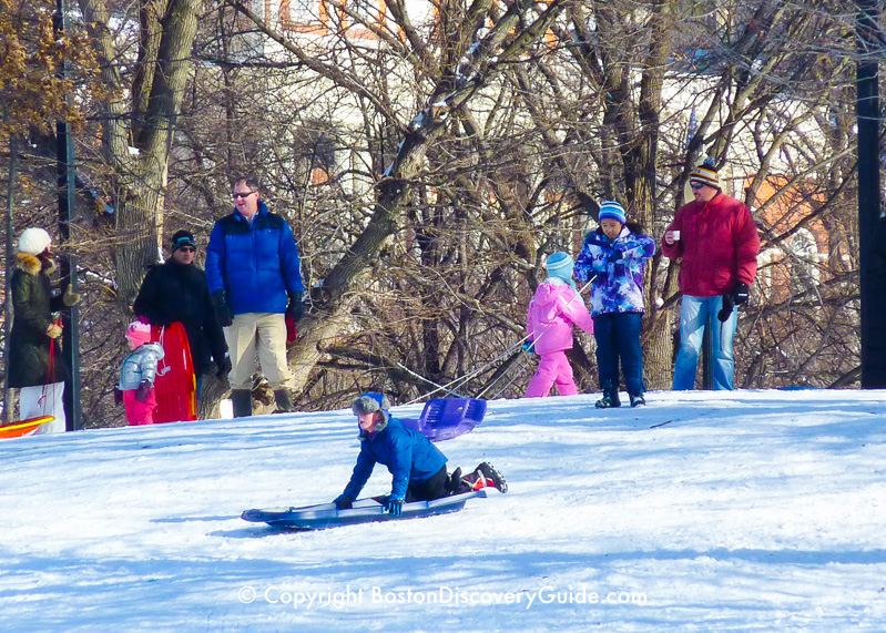 Winter walking tour of Boston: Sledding on Boston Common