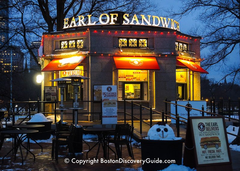Winter walking tour of Boston: Earl of Sandwich on Boston Common