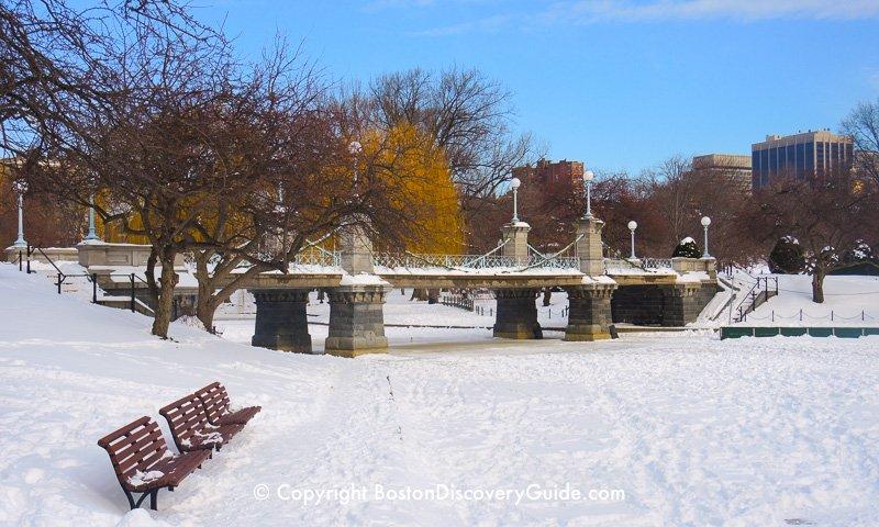 Winter walking tour of Boston: Public Garden Lagoon