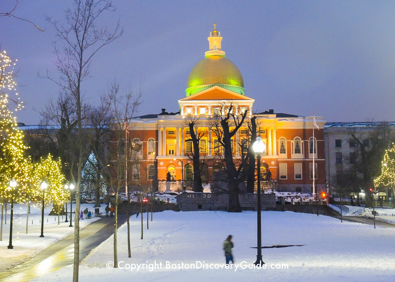Winter walking tour of Boston: Massachusetts State House in the snow