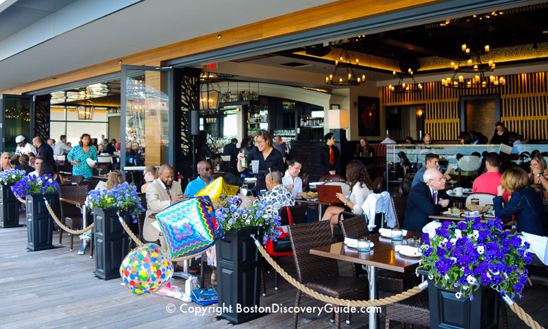 Harborside dining in restaurants along the Seaport area of the South Boston Waterfront