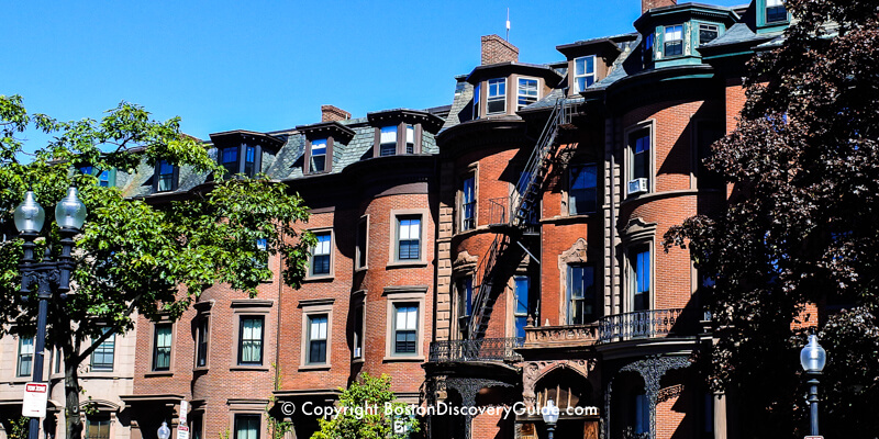 Victorian red brick row houses in Boston's South End
