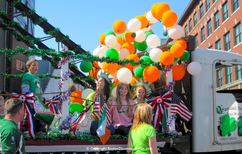 Balloons on the Ironworkers Local 7 St. Patrick's Day Parade float