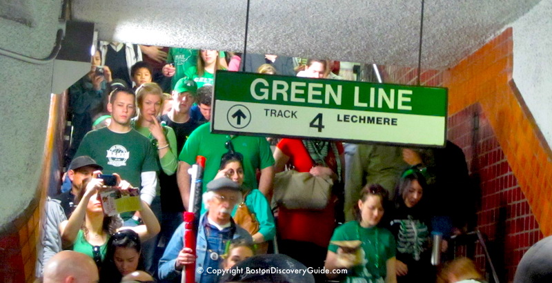 Crowds heading to St. Patrick's Day Parade in the Park Street T station