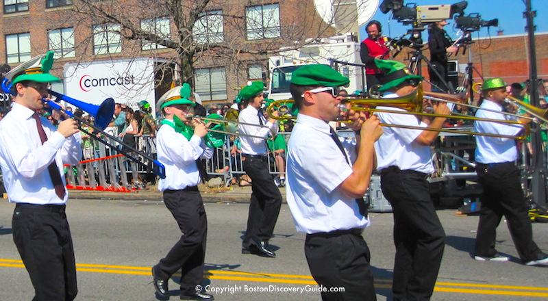 Brass band marching in Boston's Saint Patrick's Day Parade