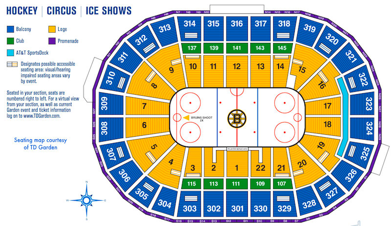 TD Garden seat map for hockey games and other ice shows and events