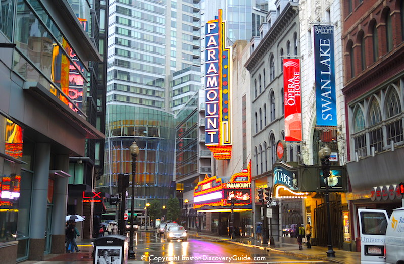 Boston's Theatre District on a rainy afternoon