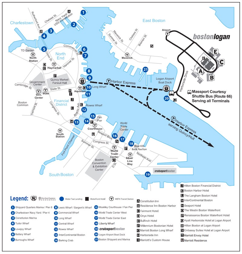 Massport's Boston water taxi landing map showing nearby hotels