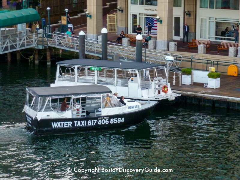 Rowes Wharf water taxi at their dock