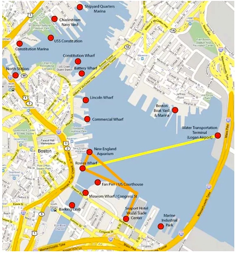 Boston Water Taxis - Locations, Fares - Boston Discovery Guide on boston city road map, new york road map, port of boston map,