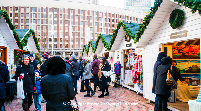 Swiss-style chalets in Boston's Winter Holiday Market