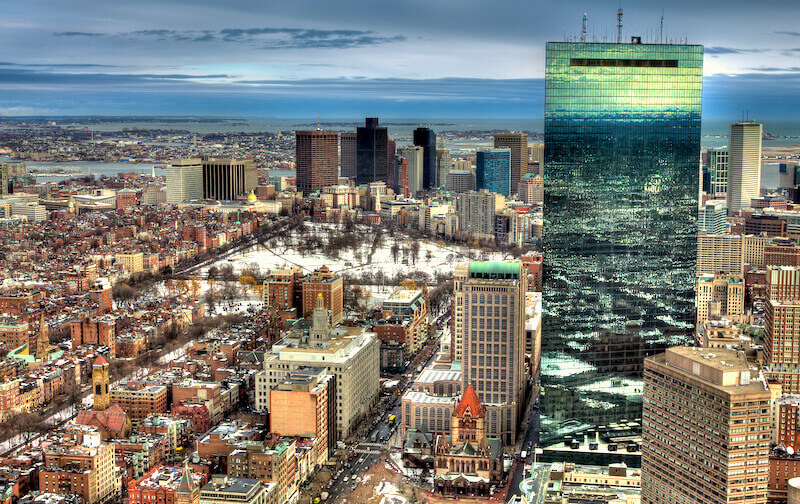 Winter view of Boston from Prudential Skywalk Observatory