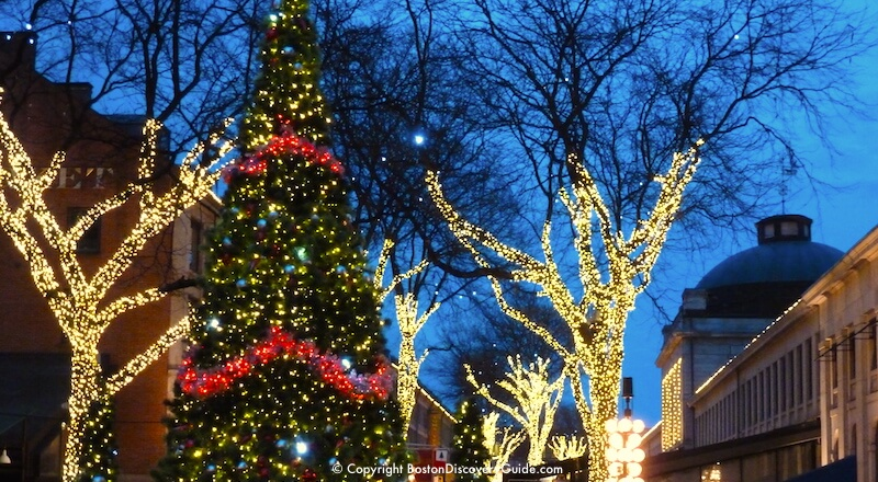 Christmas in Boston - Blink! holiday lights and Christmas Tree in Faneuil Hall Marketplace
