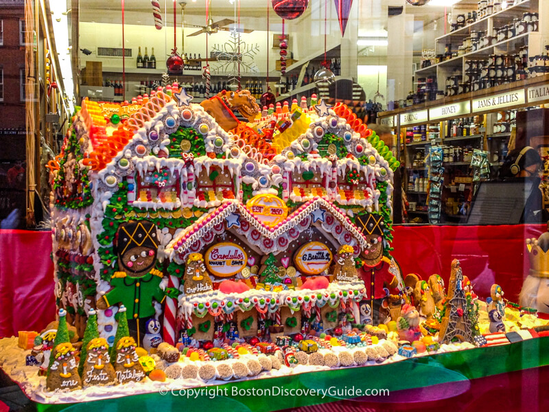 Gingerbread house displayed at Cardullo's in Harvard Square