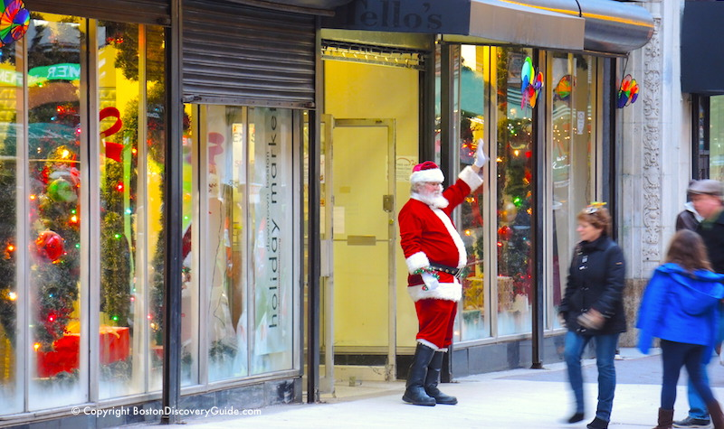 Santa greeting shoppers at Holiday Market in Boston's Downtown Crossing