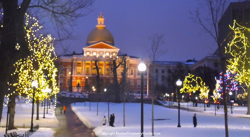 Holiday lights on Boston Common near Massachusetts State House