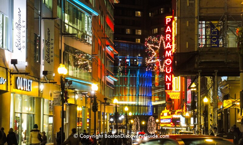 Boston's Downtown Theatre District in December