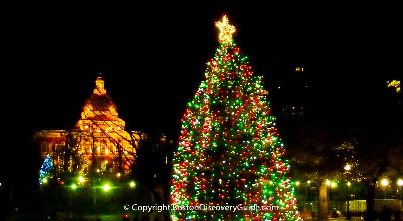 Christmas tree lighting schedule in Boston