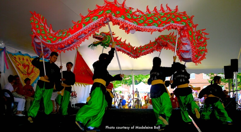 Dragon dance at the  Boston Dragon Boat Festival - photo courtesy of Madeleine Ball