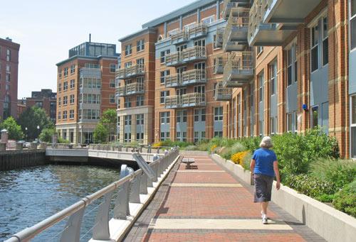 Boston's Harborwalk runs next to Battery Wharf Hotel in North End