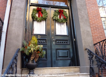 Photo of Holiday decorations in Boston in January