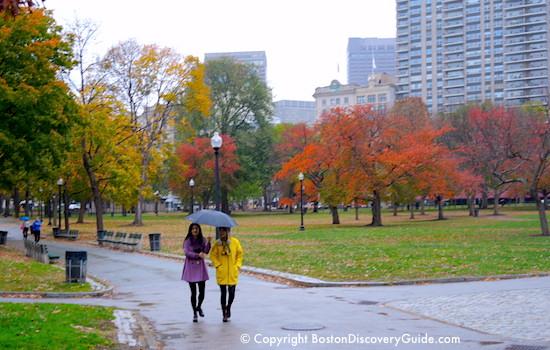 Boston Common in the rain / Boston Activities / www.boston-discovery-guide.com