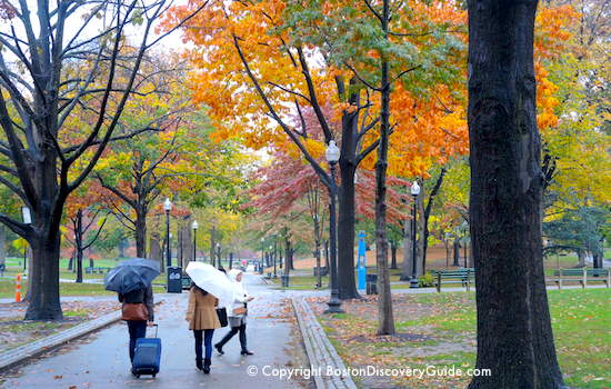 Boston Common - walking in the rain