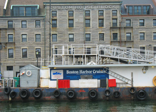 Boston Harbor Cruises sign at Long Wharf