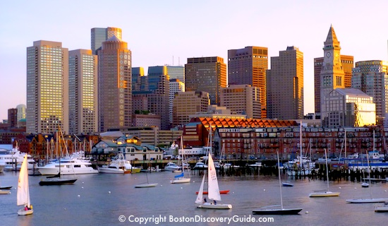 Boston travel questions and answers - Boston skyline photographed from Boston Harbor