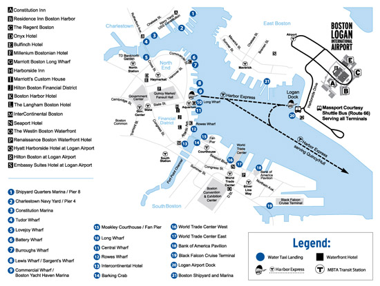 Map showing Boston water taxi stops around Boston waterfront and Boston Logan Airport/ www.boston-discovery-guide.com
