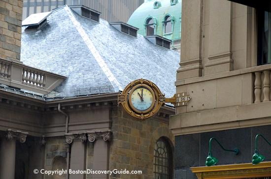 Clock on the corner of Boston's Loews Parker House Hotel