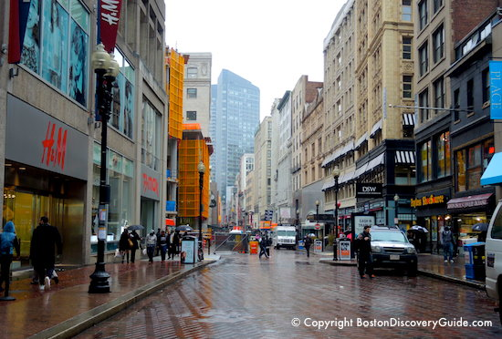 Downtown Crossing on a rainy day