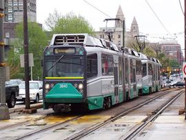 Boston's Green Line subway going to Boston College - photo by Adam E. Moreira, copyright 2006