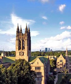 Boston College and Boston Skyline - photo by Harvey D. Egan, SJ, copyright 2007