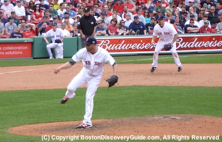 Red Sox Game at Fenway Park - Felix Doubront on the mound and Kevin Youkilis on third