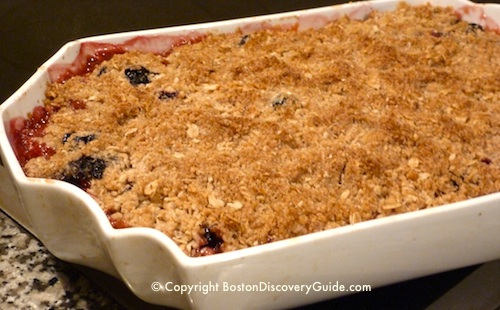 New England fruit and berry crisp - just out of the oven