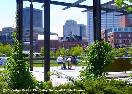 Photo of places to sit along Boston's Greenway