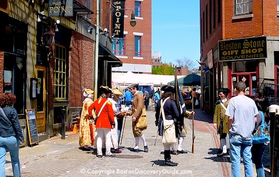 Costumed guides in historic downtown Boston