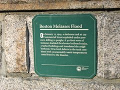 Great Molasses Flood plaque in Boston's North End marks one of Boston's worst disasters