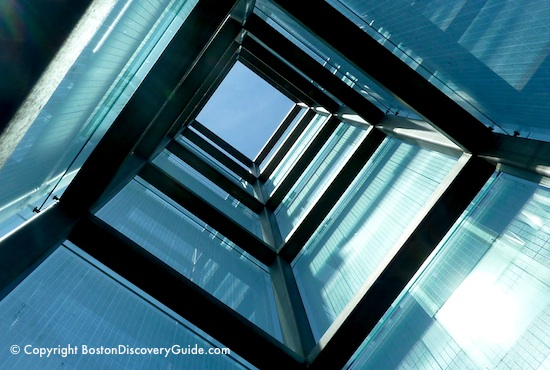 Looking up through the towers at the Boston Holocaust Memorial