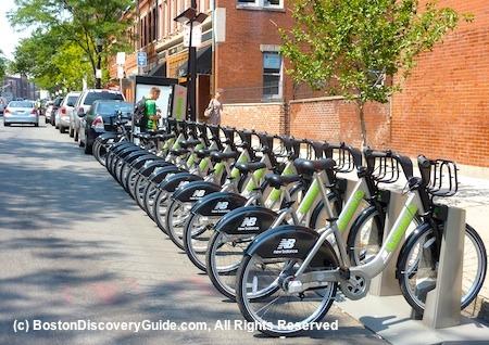 Photo of Boston Hubway bike share station at the Newbury Street/Hereford Street intersection