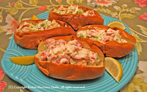 Lobster rolls on plate  / Lobster roll recipe /  www.boston-discovery-guide.com